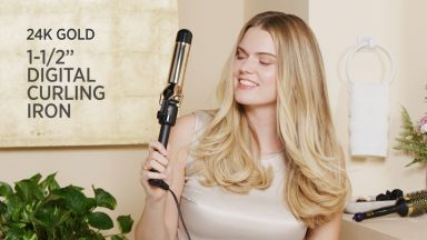 """Big Loose Curls with a 24K Gold 1-1/2"""" Digital Curling Iron"""