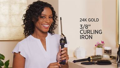 """Defined Curls with a 24K Gold 3/8"""" Curling Iron"""