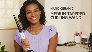 """Defined Curls with a Nano Ceramic 1/2 to 1"""" Tapered Curling Iron"""