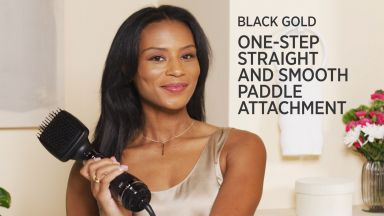 Effortlessly Straight with a Pro Artist Black Gold™ Paddle Brush Attachment