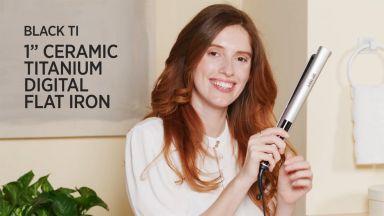 "Flat Iron Curls with a Pro Signature Black Ti 1"" Ceramic-Titanium Digital Flat Iron"