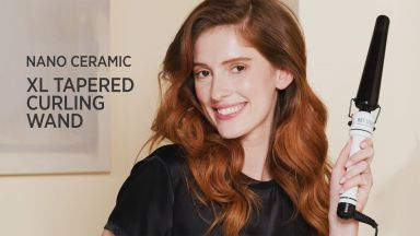 """Long, Loose Curls with a Nano Ceramic 1 to 1-1/2"""" Tapered Curling Iron"""