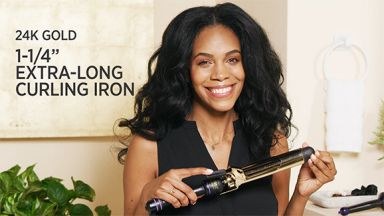 """Loose Curls with a 24K Gold 1-1/4"""" Extra Long Curling Iron"""