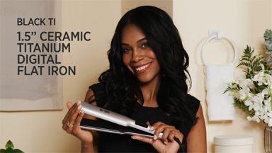 "Flat Iron Curls with a Pro Signature Black Ti 1-1/2"" Ceramic-Titanium Digital Flat Iron"
