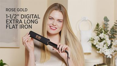 """Shiny Straight Long Hair with a Rose Gold 1-1/2"""" Digital XL Flat Iron"""